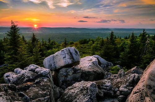 sunset nature forest woods day unitedstates westvirginia davis dollysods alleghenymountains monongahelanationalforest rockyknob dollysodswilderness pwpartlycloudy posnov viktorposnov