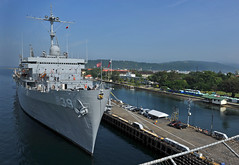 In this file photo, USS Emory S. Land (AS 39) sits along the pier in Subic Bay during an October 2012 port visit. (U.S. Navy photo by Mass Communication Specialist 2nd Class Michael Russell)