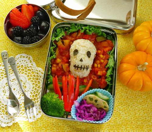Skull Onigiri Chili Bento by sherimiya ♥