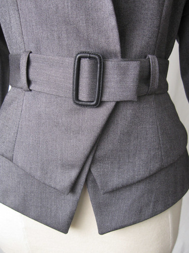 Jacket front belt closeup