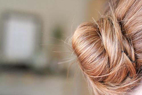 Random bun photo. Of the hair sort, not the bootie.