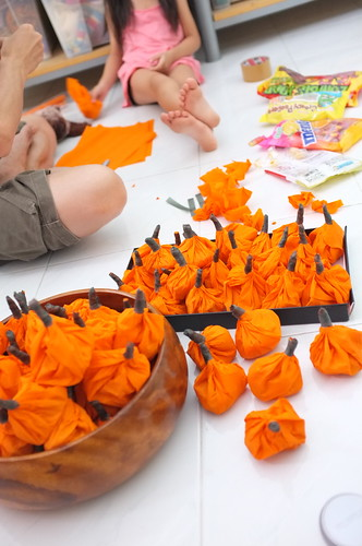 pumpkin-wrapped candy packets