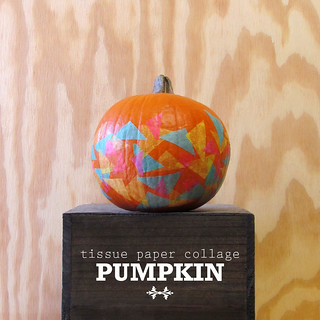 tissue paper collage pumpkin