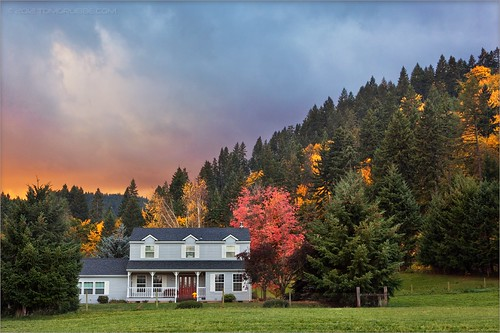 autumn trees house storm fall home clouds oregon rural sunrise landscape