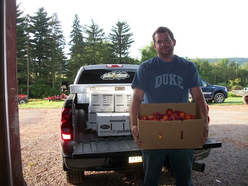 Producer Andrew Schwalm of Schwalm Farms donated peach and nectarine seconds to the Feds Feed Families food drive.
