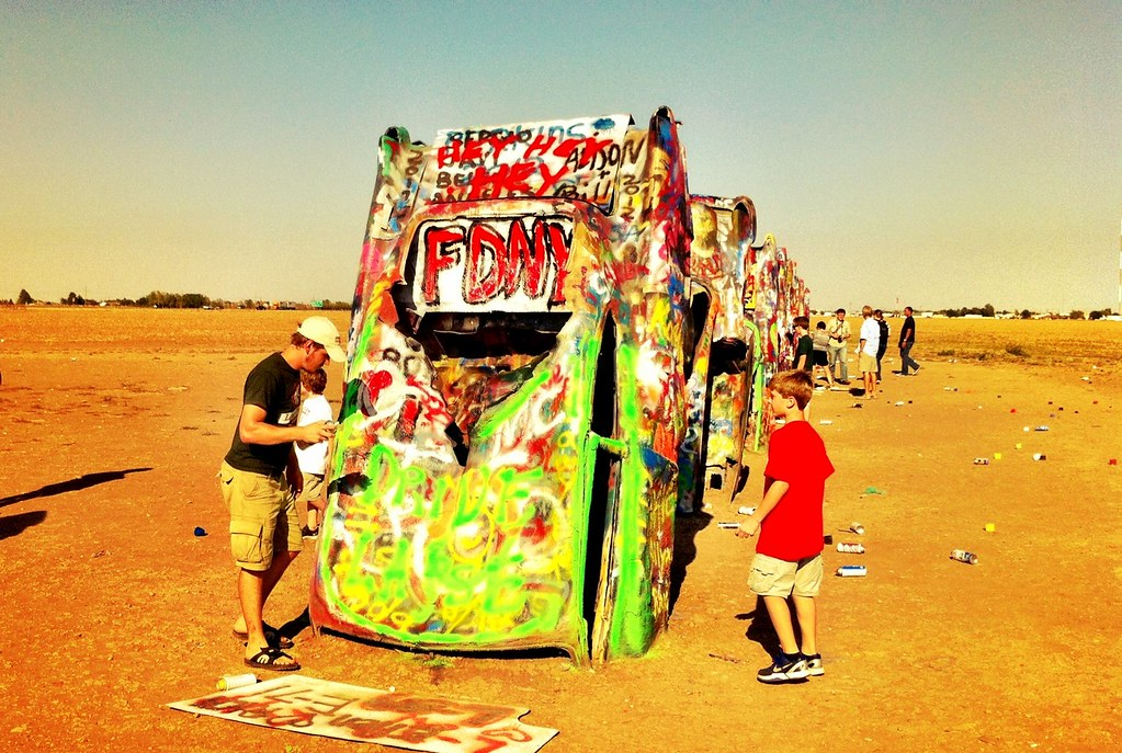 Spray-Painting at Cadillac Ranch - Amarillo, Texas