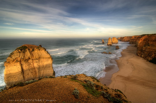 sunset seascape beach coast rocks australia cliffs coastline greatoceanroad hdr 12apostles portcampbell tokina1116 jesuscmsfavoritesgallery photoartimages