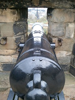 A view looking down the barrel of a cannon