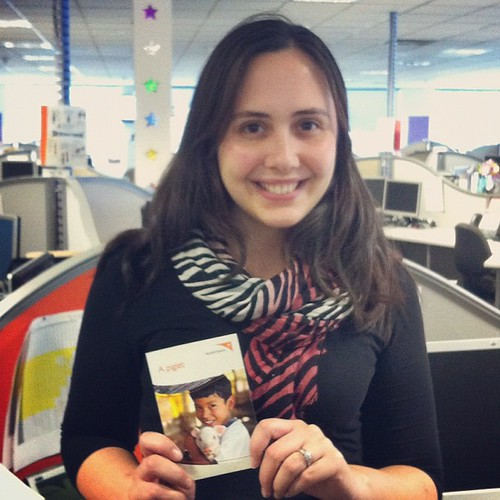 A piglet! @joydot holding a @worldvisionaus piglet giftcard for an idea I'm bacon up :)
