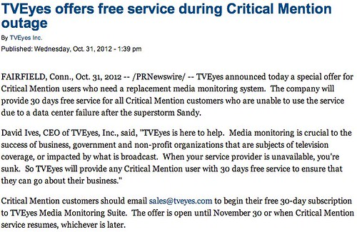 TVEyes offers free service during Critical Mention outage - PR Newswire - The Sacramento Bee