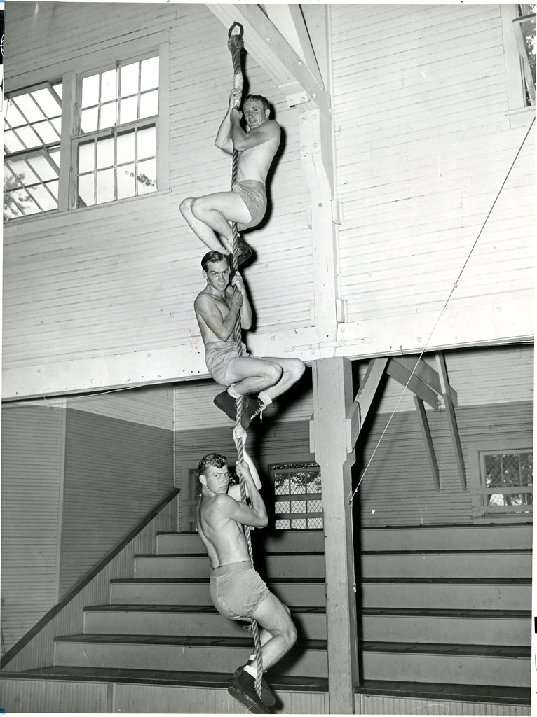 Students Rope Climbing in the Old Gym
