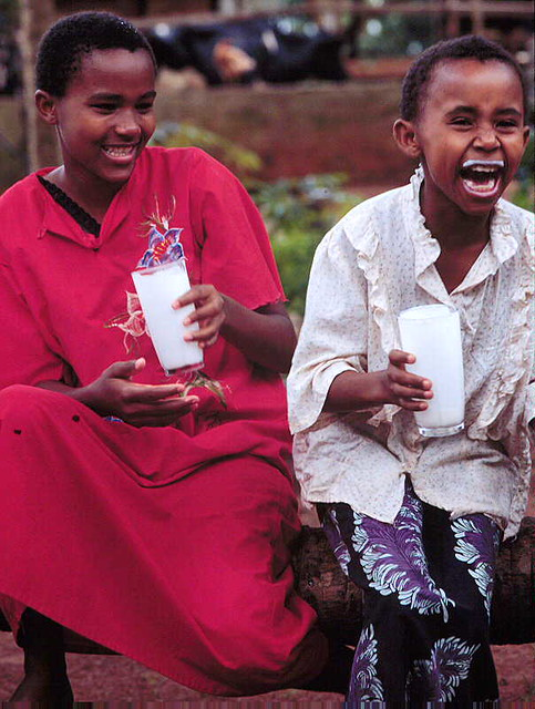 Kenya children drinking milk