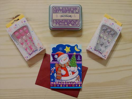 Package unboxing: Fake Nails (uñas postizas), Stamps (sellos), Xmas Card (tarjeta de navidad)