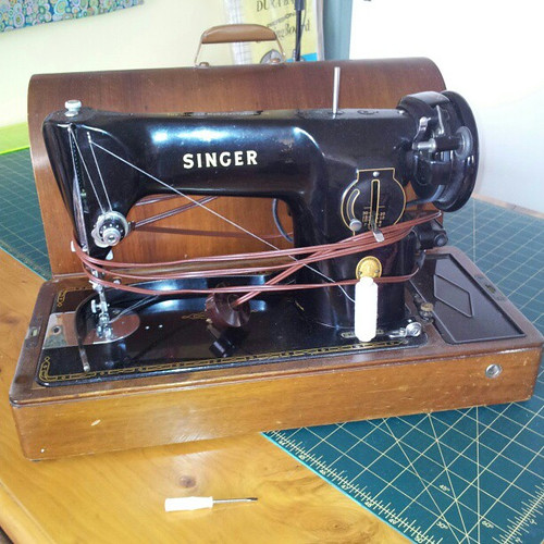 Singer 201K knee operated electric sewing machine, manufactured 1954