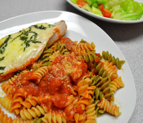 Easy Chicken Parmesan w/ Rotini & Sauce