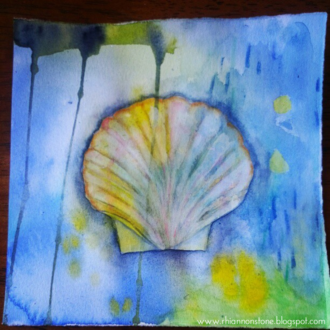 watercolour shell blue