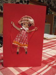 valentine card girl jumping