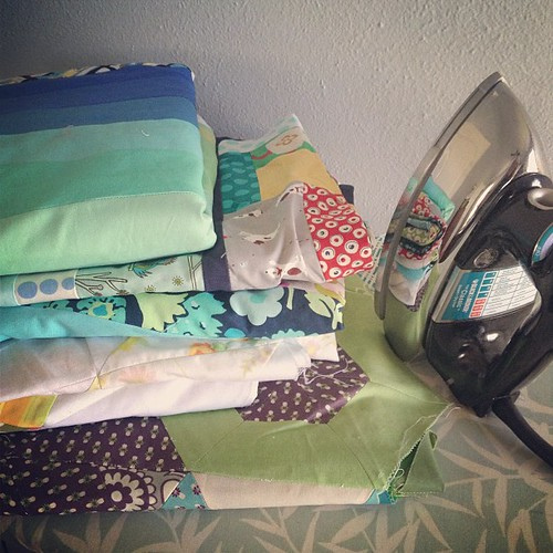Pressing a mountain of quilts and making backs today #vintagemodernquilts #quilting