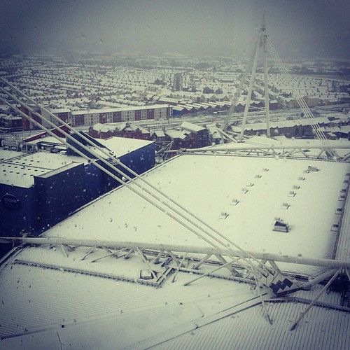 Cardiff snowbound, Millenium Stadium roof