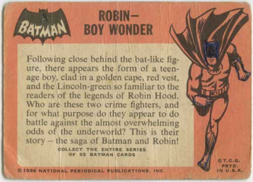 1966 Topps Batman Robin back