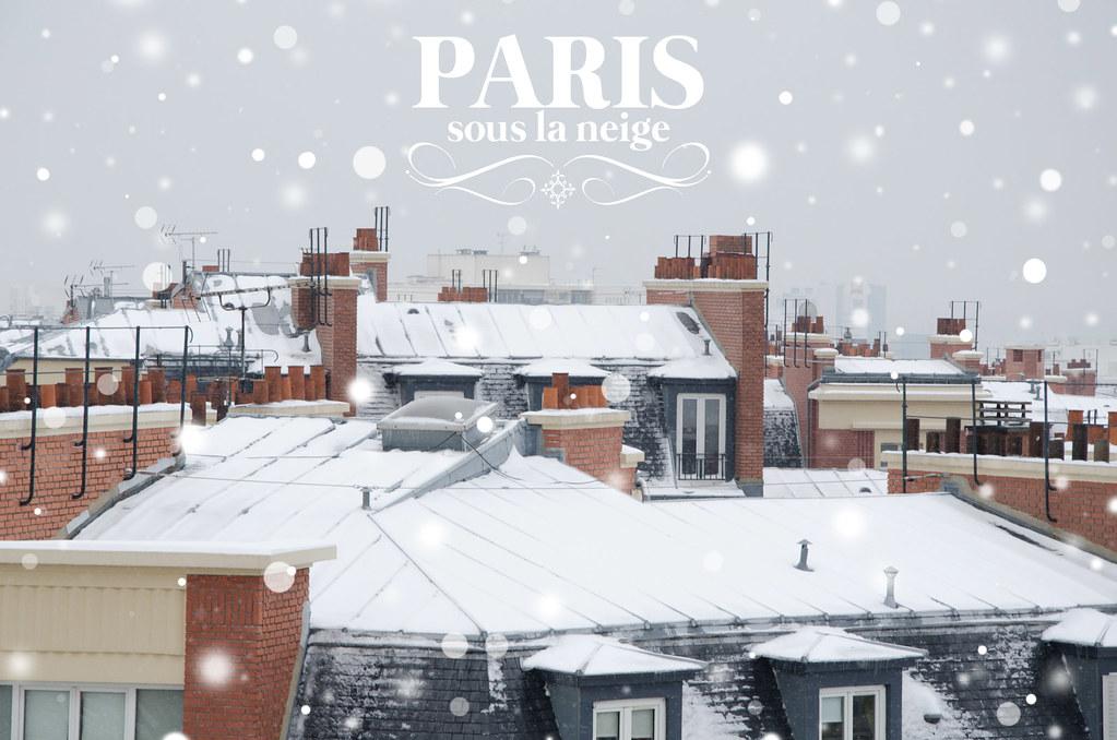 Les toits enneigés de Paris