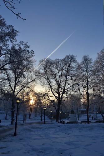 blue winter sky snow sunrise frosty latvia invierno riga latvija letonia