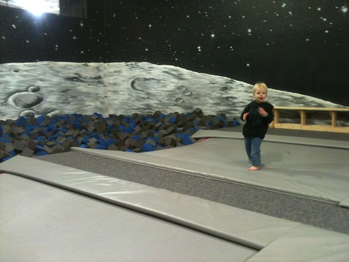 Preparing to leap into the moon pit