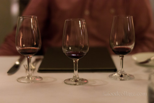 Wine samples at Auberge du Pommier (Toronto)