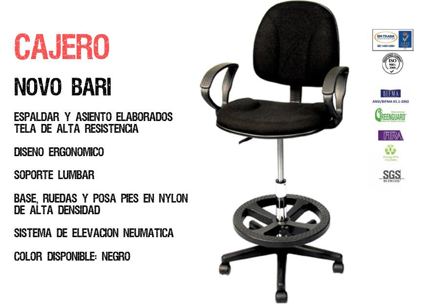 Sillas novo bari cajero tela ergonomica mobiliario oficina for Mobiliario oficina precios