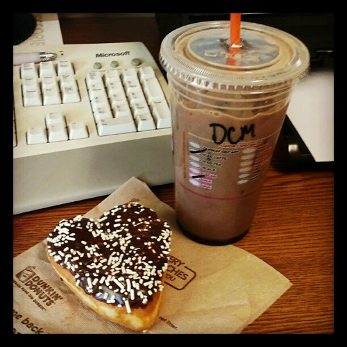 Its been one of those weeks!! Afternoon Latte and Donut! #dunkindonuts #darkchocolatemocha #irunondunkin