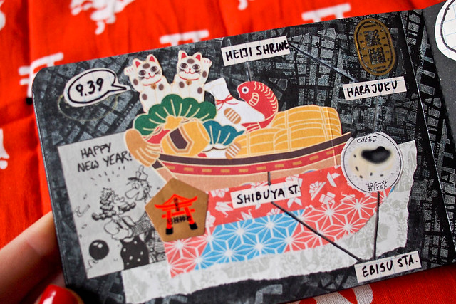 Japan travel collage black moleskine journal