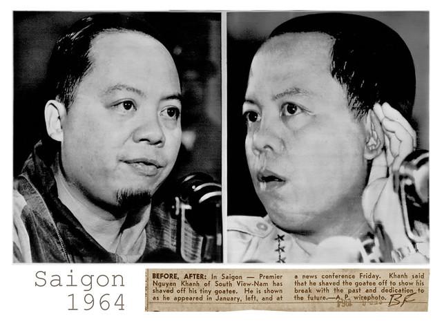 1964 Premier Nguyen Khanh shaved off tiny goatee - Thủ tướng Nguyễn Khánh cạo bỏ chòm râu dê