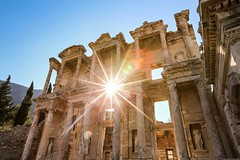 A star of sunlight erupts from the Library of Celsis in Ephesus, Turkey. #travel #turkey #ephesus