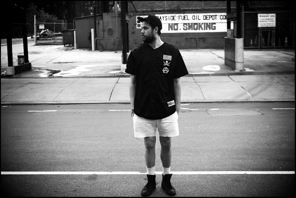 Tuukka13 - Rainy Moments Around Carroll Gardens, Brooklyn - 08.2012 - Tuukka13 Baseball Jersey, Supreme Cap, Acne Shorts and Damir Doma High-Top Sneakers - 11