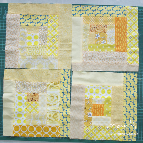 Yellow log cabin blocks