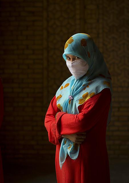 Muslim Uyghur woman in Keriya mosque, Xinjiang China