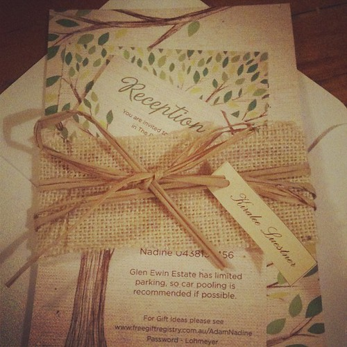 Bride Nadine sent in a shot of her packaged up invitation suite - love how she personalized it! www.allicoateweddings.etsy.com