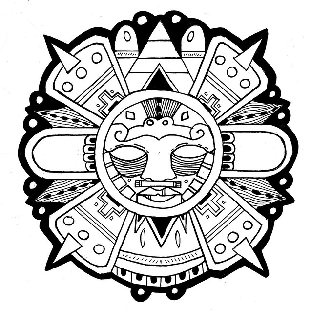 Aztec sun line work design for part of a series of aztec for Aztec sun coloring page