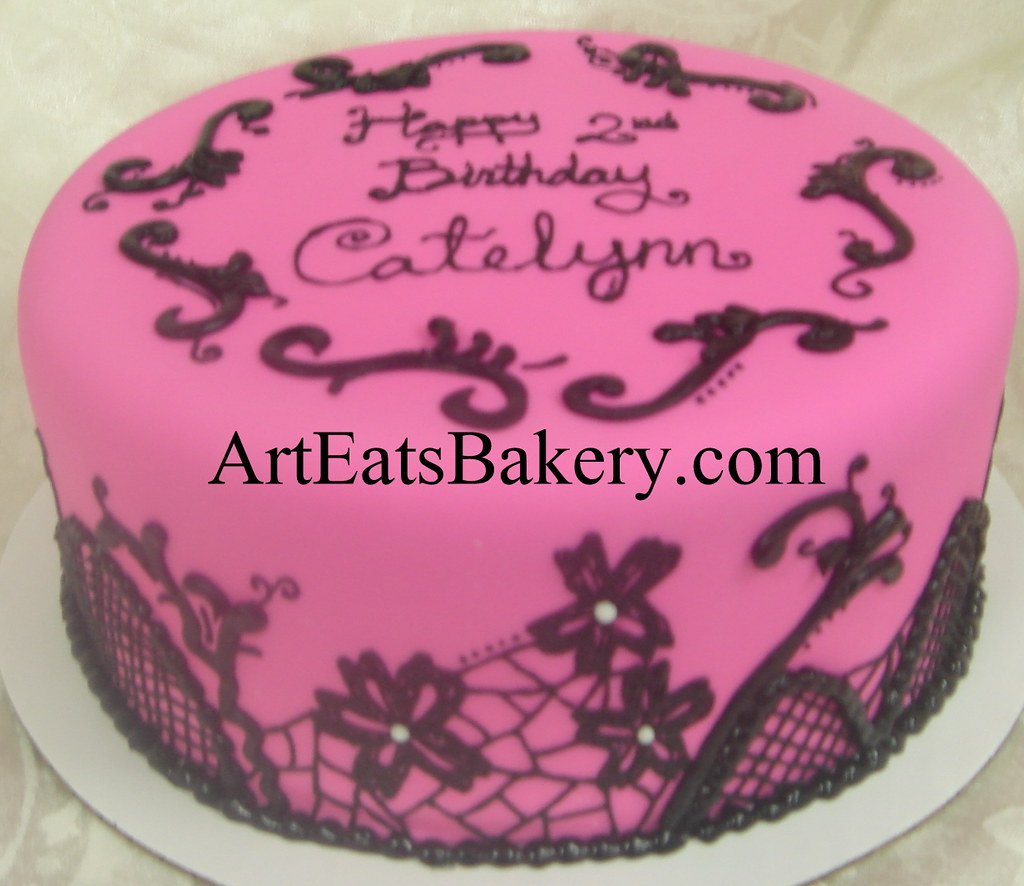 Pink Fondant Custom Girls Or Ladys Birthday Cake Design Idea With