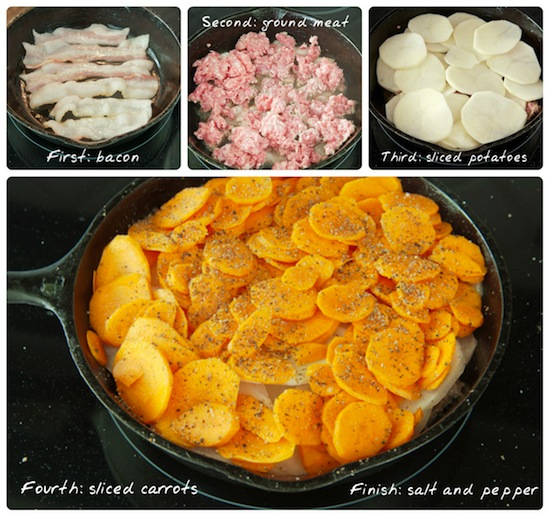 4-layer meat and potatoes collage