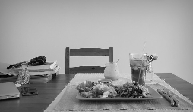 egg salad table setting bw