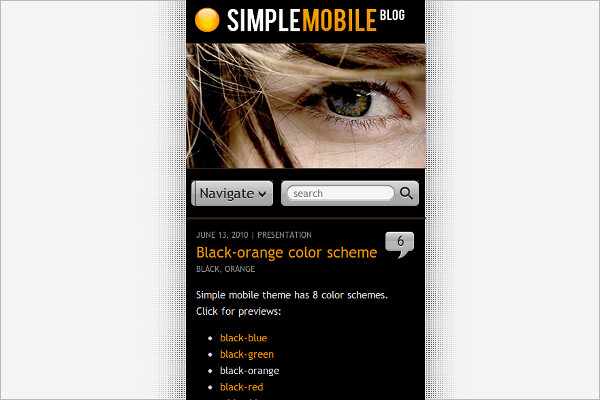 Simple Mobile WordPress Theme