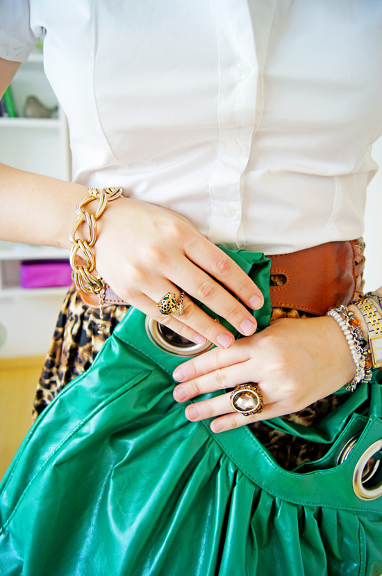 Leopard Skirt and a Pop of color