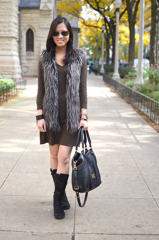 sweater dress and faux fur vest