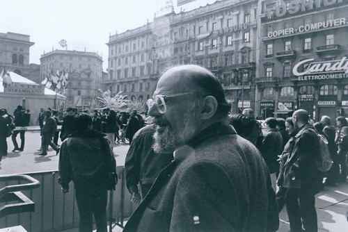 Allen Ginsberg in Milan, outside the Duomo, April 1996. Photo by Geoff Manaugh.