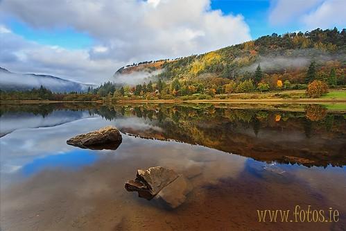 county autumn ireland lake reflection water canon glendalough software co nik lower wicklow 1740 5dmkii