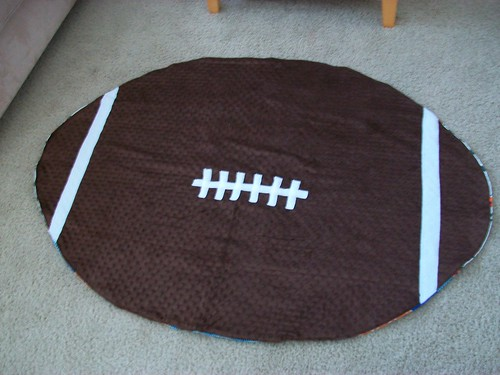 Football shaped minky blanket!
