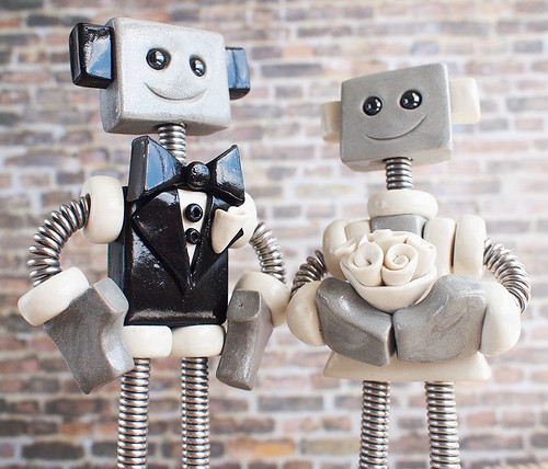 Robot Wedding Cake Topper | Thin Square Classic Colors by HerArtSheLoves