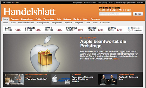 Interview im Handelsblatt zur Apple-Keynote am 23.10.2012
