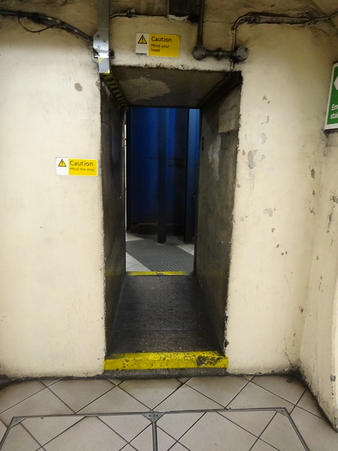 Narrow passageway to stairs at Lambeth North Station
